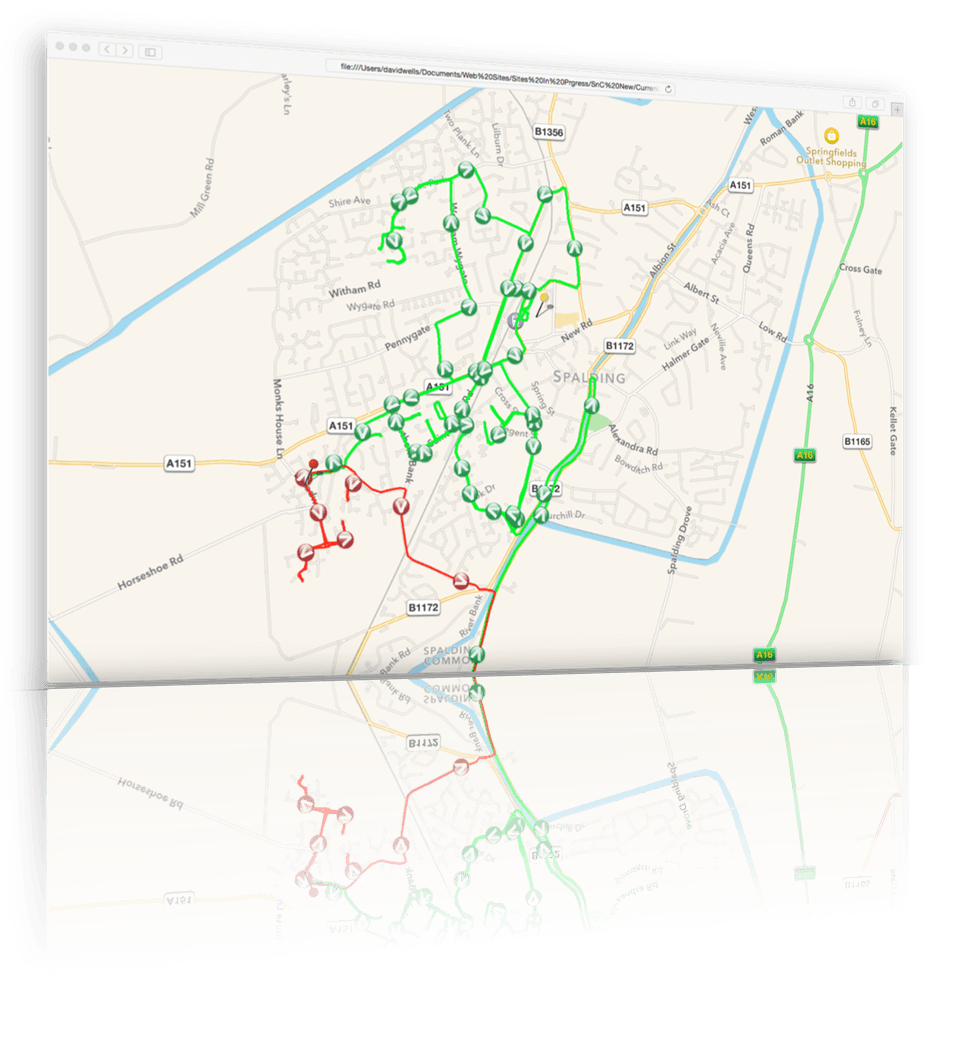 An image of a map showing the GPS tracks of a leaflet distribution